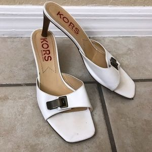 Authentic Michael Kors white kitten heel